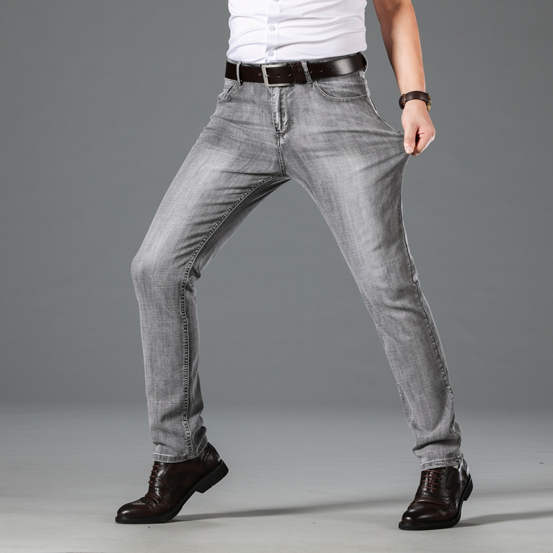 2020 Man Jeans New Fashion Business Casual Denim Pants Men Straight Cut Slight Stretch High Quality Trousers Large Size 28-40