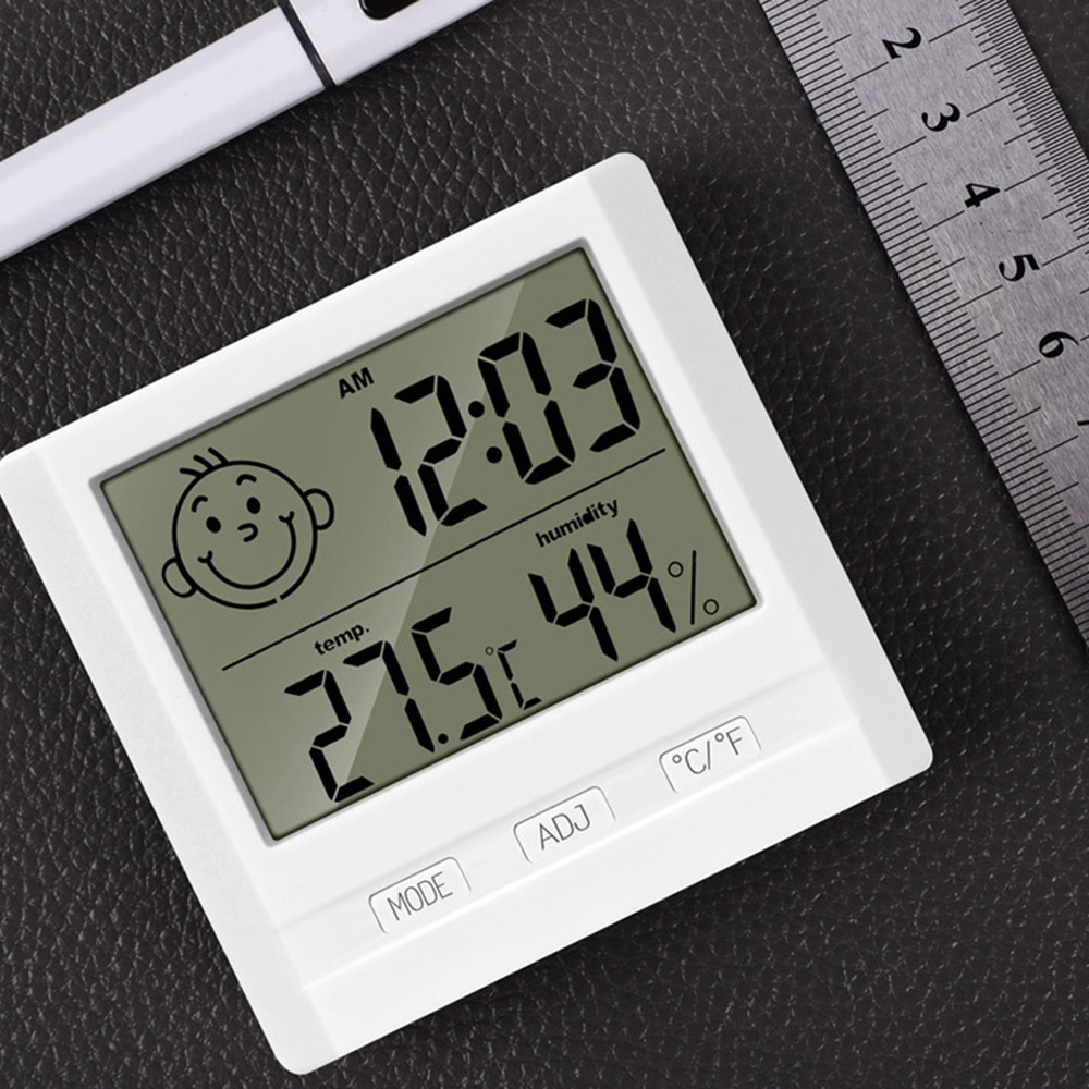 Electronic Thermometer And Hygrometer Home Child Gifts With Smiley Digital Display Temperature Humidity Clock Display