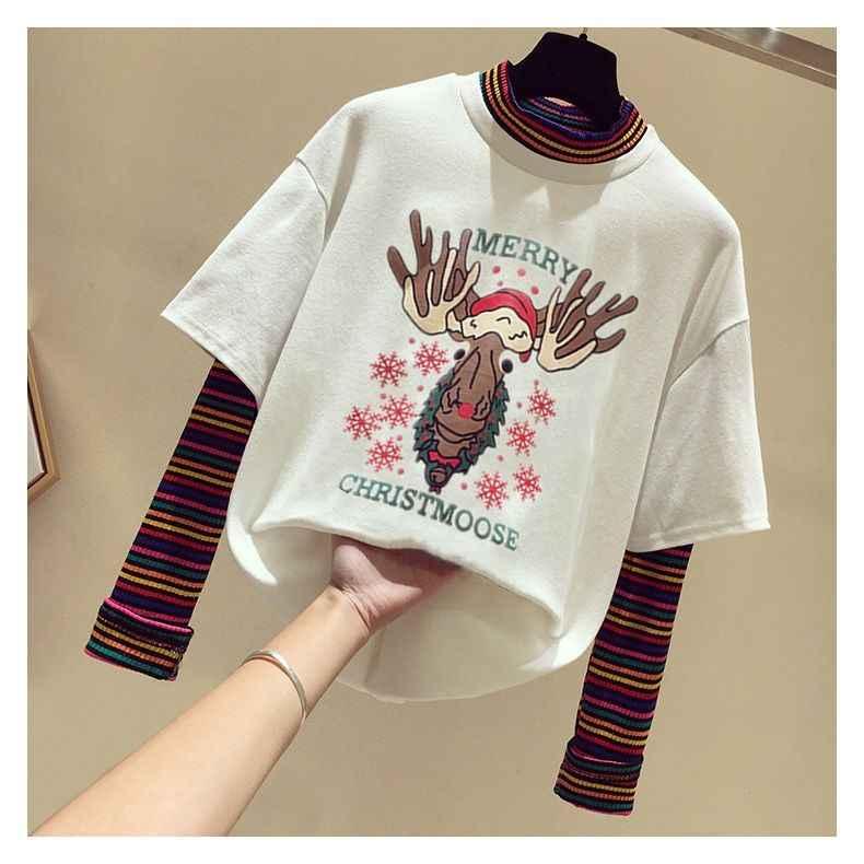 2020 faux deux pièces à manches longues T-shirt femmes étudiants version coréenne de ample Mickey impression couture manteau ins marée