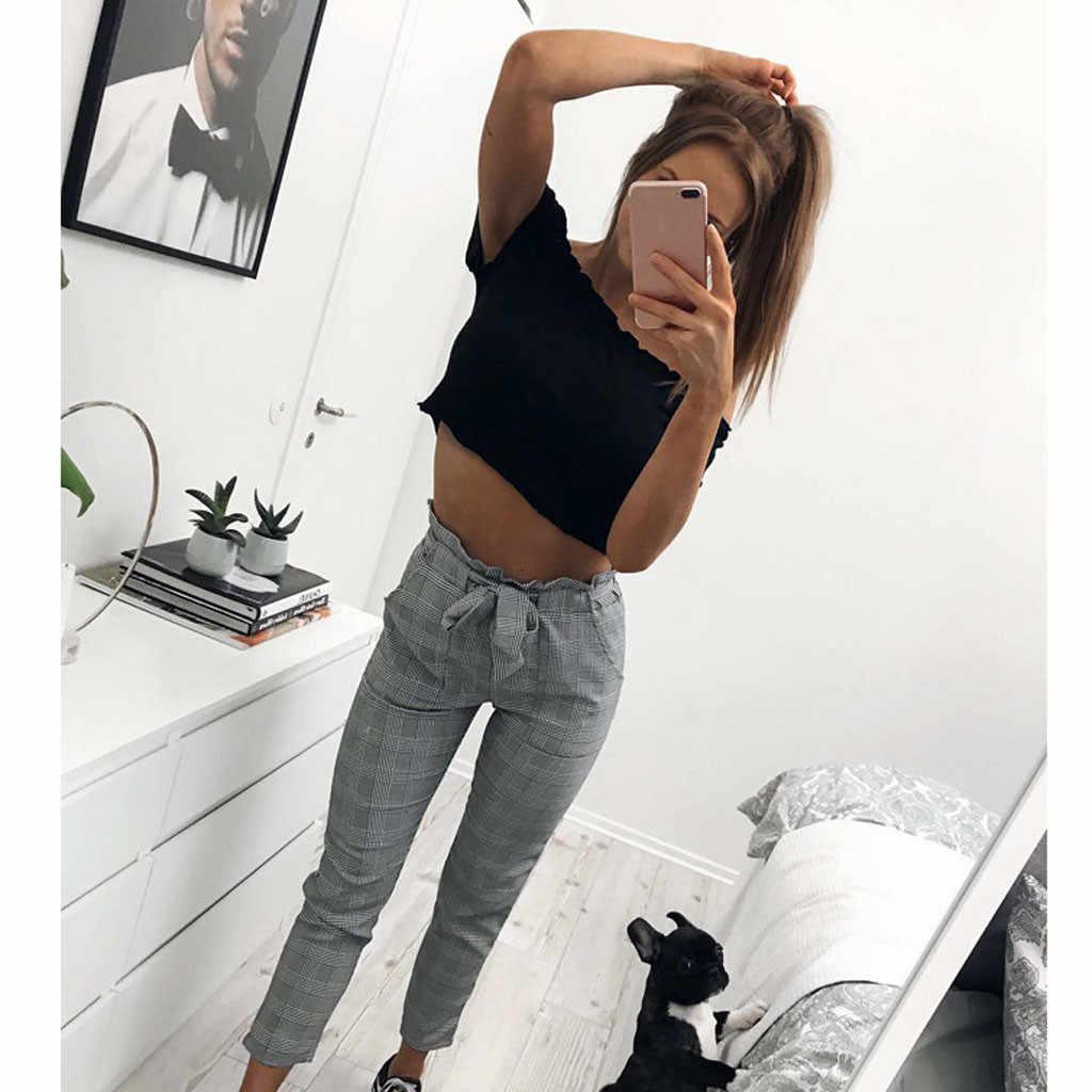 Broek Vrouwen Брюки Женские Pantalones Mujer Moda 2019 Plaid Hoge Taille Trekkoord Enkellange Herfst Casual Broek OY41 *