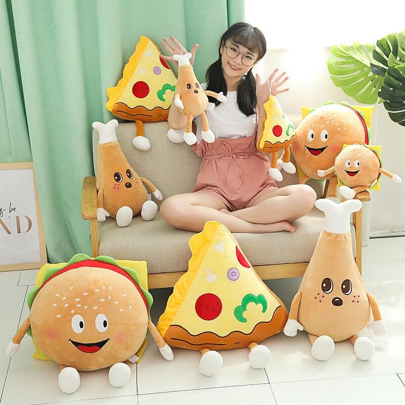 quente bonito dos desenhos animados de pelucia hamburguer batatas fritas frango perna brinquedo recheado comida pipoca