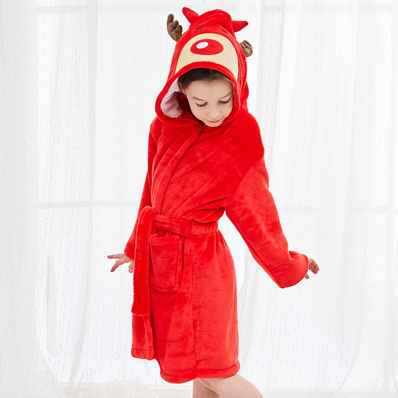 New Style Children Flannel Nightgown Cartoon Hooded Animal Bathrobes Cloak Europe And America BABY'S Bath Towel Home Wear
