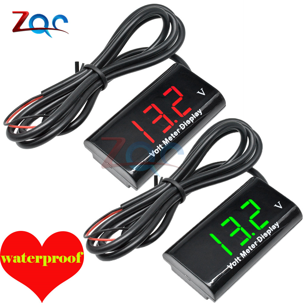 Waterproof DC 3V-18V 12V LED Digital Voltmeter Voltage Meter Volt Gauge Detector Tester Monitor Panel For Motocycle Car Auto