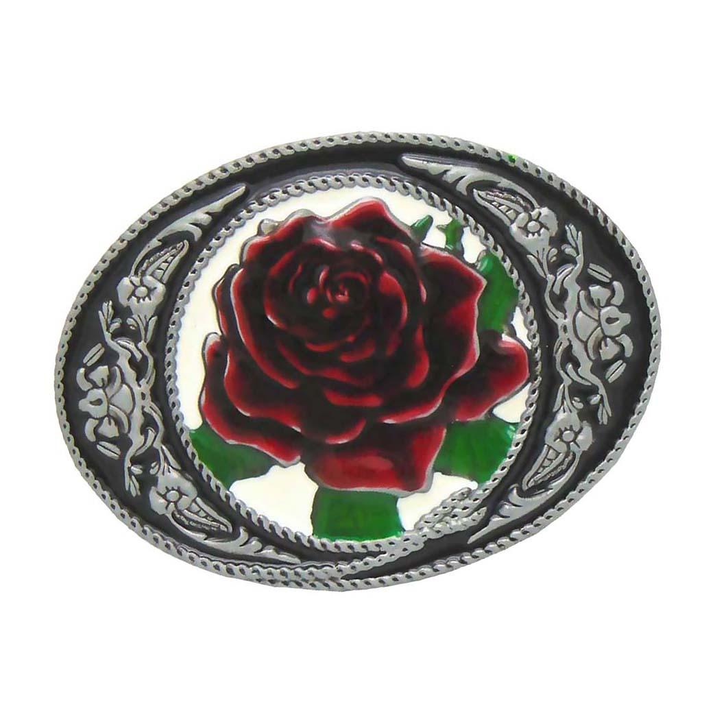 Роза цветочный узор ковбойская металлическая пряжка для кожаного ремня DIY