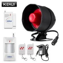 KERUI ucuz yükseltilmiş bağımsız kablosuz ev güvenlik Alarm sistemi kiti megafon ile hareket dedektörü DIY 110db hırsız alarmı