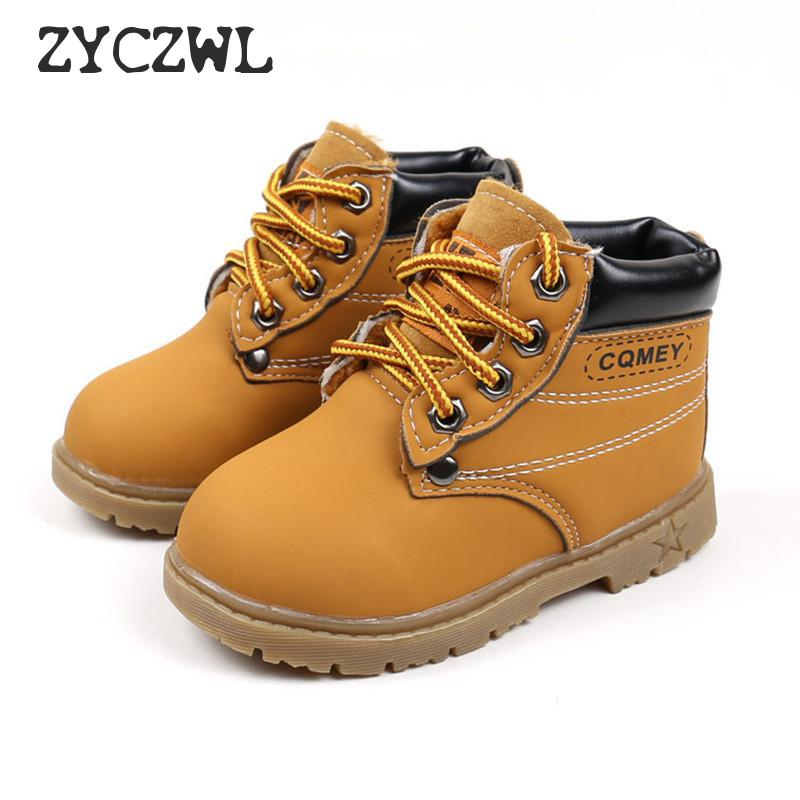 Spring Autumn Children Ankle Boots Winter Girls Boots Boys Plush Snow Motorcycle Boots Lace-Up Rome Boots Kids Shoes