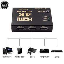 Mini hdmi switcher 4k hd1080p 3 5 portas hdmi interruptor seletor divisor com hub ir controle remoto para hdtv dvd tv caixa z2
