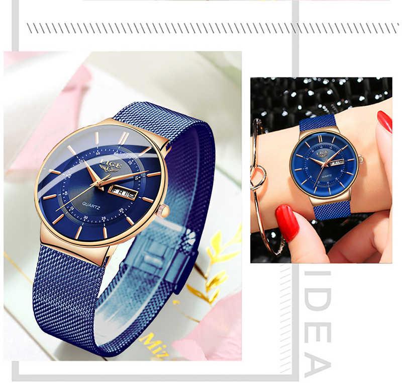 LIGEนาฬิกาผู้หญิงแบรนด์หรูUltra-Thinปฏิทินควอตซ์นาฬิกาผู้หญิงตาข่ายสแตนเลสกันน้ำReloj Muje + กล่อง