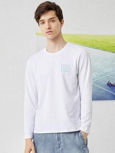 Image 2 - פיוניר 2020 אביב חולצה גברים ארוך שרוול מוצק 100% כותנה מכתב מודפס O צוואר אופנה סיבתי חולצות Mens ACT0102011