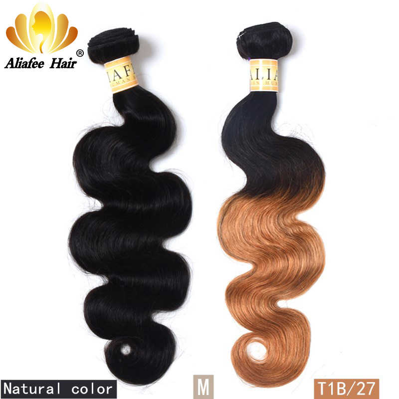 "Aliafee Hair Malaysian Body Wave 3 Bundles Weave #T1B/27/Natural Color 8""-30"" 100% Human Hair Non-Remy Body Wave Hair Extension"