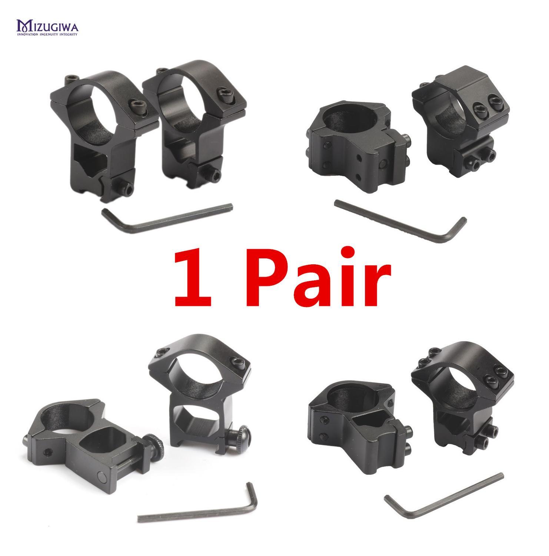 1 쌍 MIZUGIWA 스코프 마운트 링 25.4mm / 30mm 위버 11mm / 20mm Picatinny Rail For Optics 시력 권총 Airsoft 액세서리