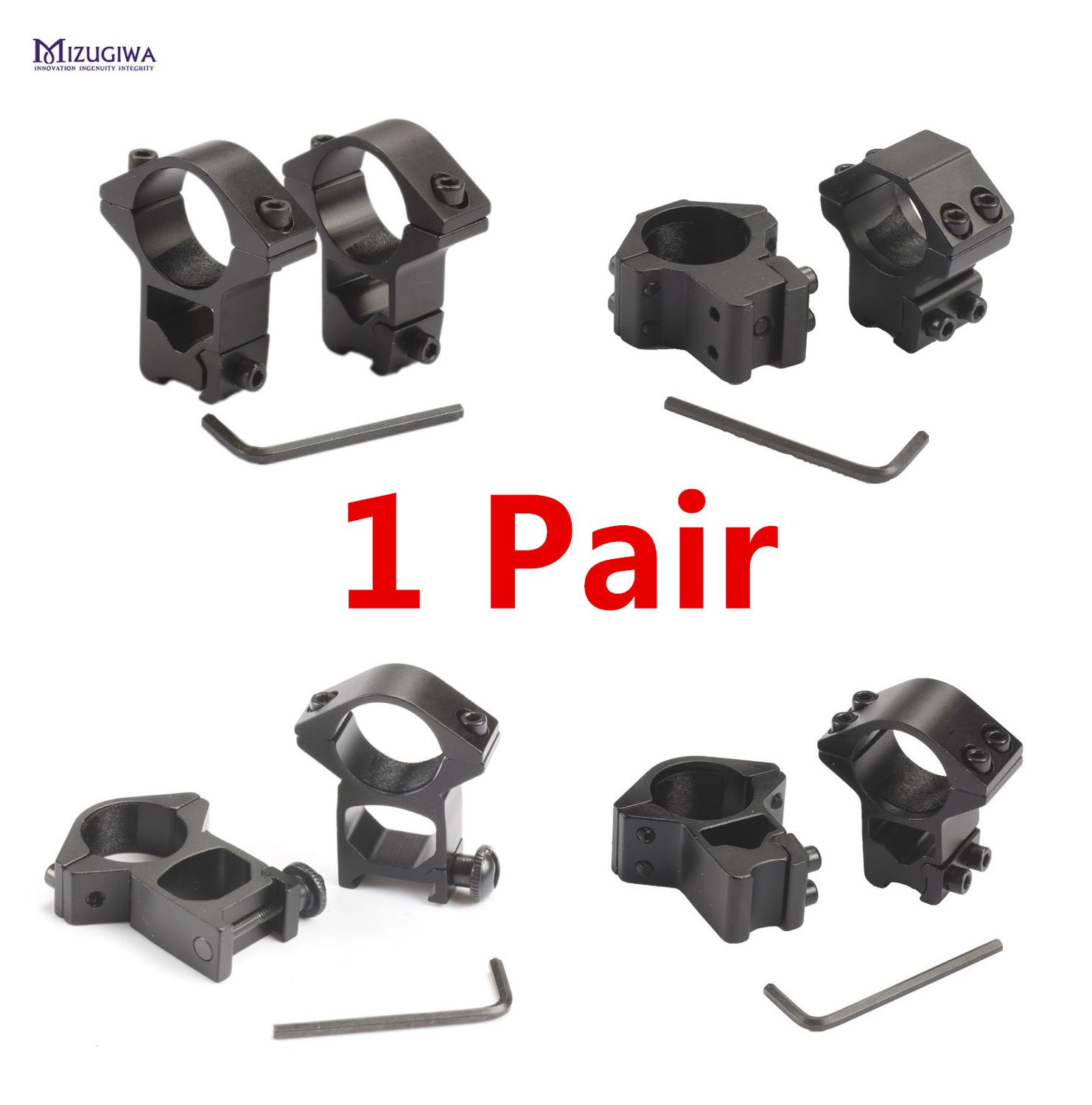 1 Pair MIZUGIWA Scope Mount Anelli di 25.4 millimetri/30 millimetri Del Tessitore di 11mm / 20 millimetri guida di Picatinny Per ottica Sight Pistola Airsoft Accessori