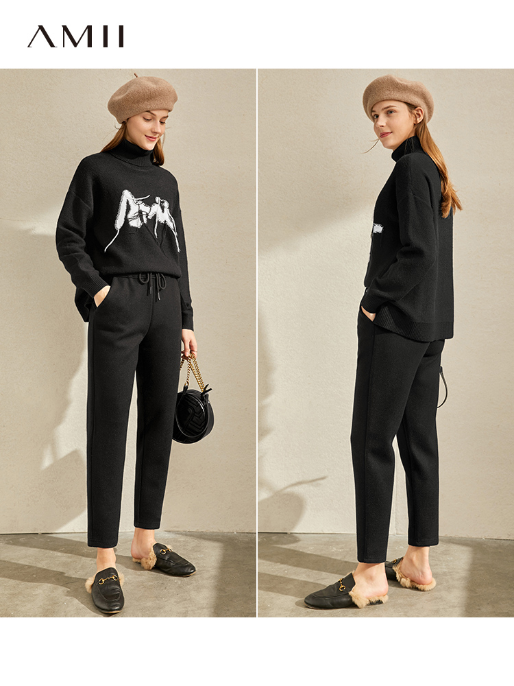 Amii Vintage Wool Pants show thin Casual Pants Capris women's new waist loose straight pants in autumn and winter 2019