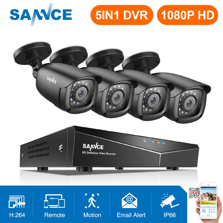 SANNCE 8CH 1080P DVR 1080P CCTV System 4pcs 1080P 2.0MP Security Cameras IR Outdoor IP66 Video Surveillance Kit Motion Detection