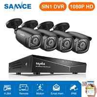 SANNCE 8CH 1080P DVR 1080P Sistema de CCTV 4 Uds 1080P 2.0MP cámaras de seguridad IR al aire libre IP66 kit de videovigilancia detección de movimiento