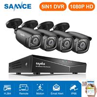 SANNCE 8CH 1080P DVR 1080P CCTV System 4pcs 1080P 2.0MP Security Cameras IR outdoor IP66 Video Surveillance kit motion detection