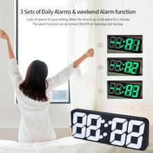 3D Wireless Digital Alarm Clock USB LED Alarm Clock Thermometer Sound Control 115 Colors 3 Level Brightness Wall Desktop Clock tanie tanio Plac 150mm 375g 25mm Budziki Luminova Cyfrowy Z tworzywa sztucznego 90mm Nowoczesne Dotykowe Pojedyncze twarzy