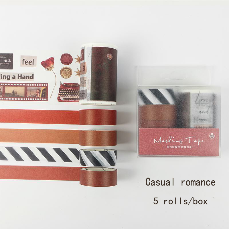5 Rolls/lot Kawaii Washi Tape Set Rose Film/Fresh Green/Sunset/Island Glacier Masking Tape For Bullet Journal DIY Scrapbooking