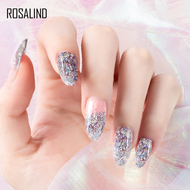 ROSALIND 12PCS/SET Shiny Silk Gel Nail Polish Manicure Kit Nail Art Design Hybrid Glitter Platinum Gel Lacquer Top Base Coat 6