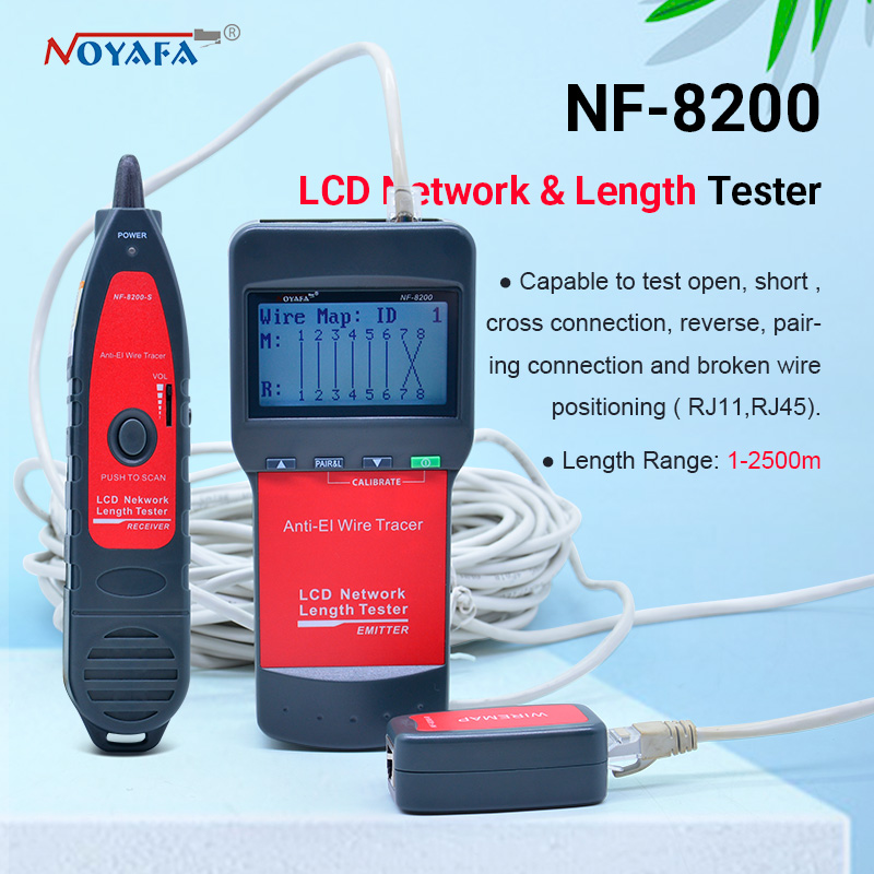 NF_8200 LCD LAN Tester Network Telephone Cable Tester RJ45 Cable Tester Ethernet Cable Tracker NOYAFA NF-8200