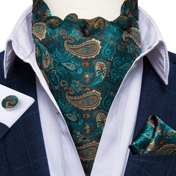 цена Luxury Men's Ascot Teal Green Paislet Floral Silk Necktie Cravat Pocket Square Cufflinks Set Wedding Party Vintage Ascot DiBanGu онлайн в 2017 году