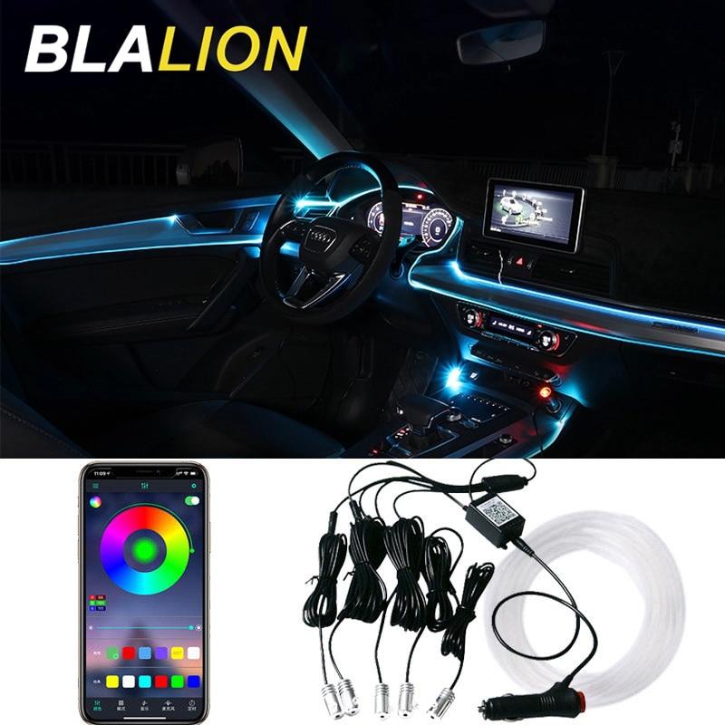 Car LED EL Neon Strip Lights RGB Ambient Light Sound Control With 12V Cigarette Lighter Auto Interior Decorative Atmosphere Lamp