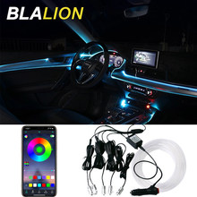 Car LED EL Neon Strip Lights RGB Ambient Light Sound Control With 12V Cigarette Lighter Auto Interior Decorative Atmosphere Lamp