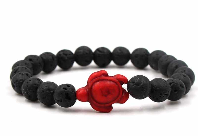 8mm fg3 שחור אבן וולקני lava חרוז צמידי אדום טורקיז צב בודהה תפילת יוגה צמיד נשים גברים טבע אבן
