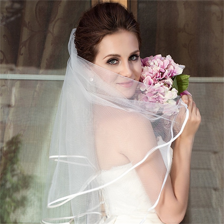NUOXIFANG 2020 Simple Short Tulle Wedding Veils Cheap White Ivory Bridal Veil for Bride for Mariage Wedding Accessories