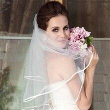 NUOXIFANG 2020 простые короткие тюль свадебное фата дешевые белый кот фата для Mariage свадебные аксессуары для невесты
