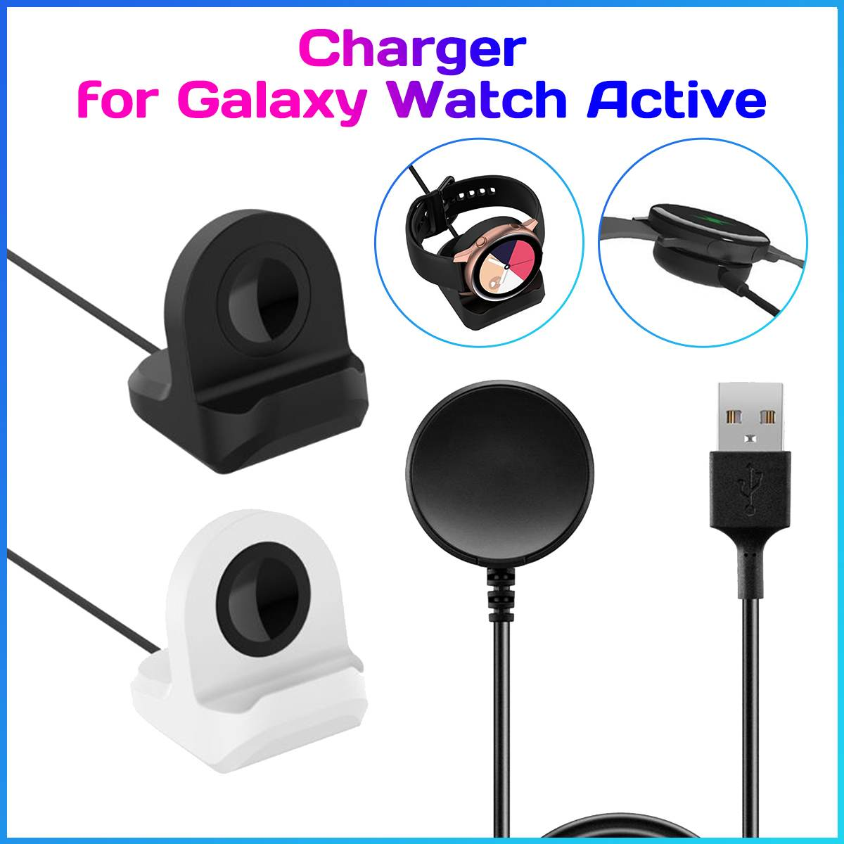 Dock-Stand Smartwatch Charger Samsungg Galaxyy SM-R500 Silicone for Active Cable/Holder