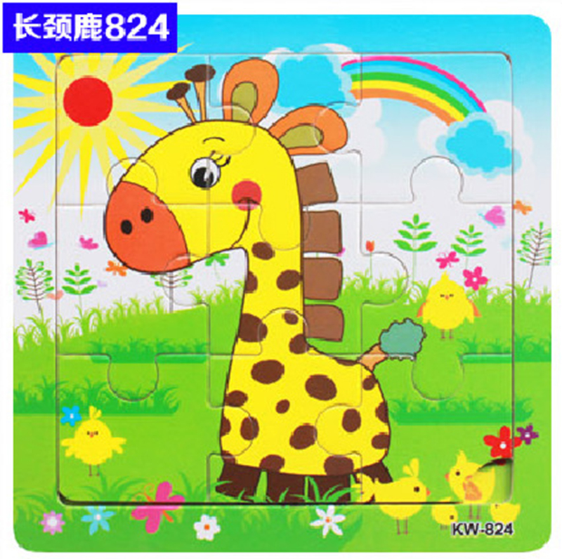 Puzzles For Kids 9 Pieces Cartoon Animals Jigsaw Puzzles Baby Learning Toys Wood Children Toys Educational Games Wooden Puzzles