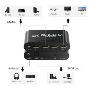 Image 4 - 1080P HDMI to HDMI Switcher 3x1 3 In 1 Out 4K Audio Extractor with Remote Audio HDMI In SPDIF Out for TV PC Projector Camera