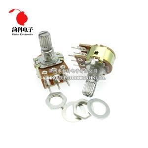5pcs WH148 B1K B2K B5K B10K B20K B50K B100K B500K 6Pin 15mm Shaft Amplifier Dual Stereo Potentiometer 1K 2K 5K 10K 50K 100K 500K(China)