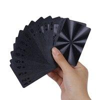 Juego de póker de 54 cartas, cartas de plástico de PVC impermeables, color negro puro