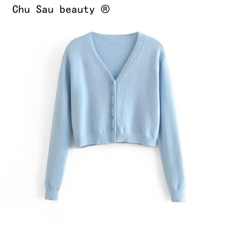 Chu Sau Beauty Sweet Chic 2 Colours Vintage Solid Short Tops Women Office Lady Loose Comfortable Sweaters Loose Vestidos De Mode