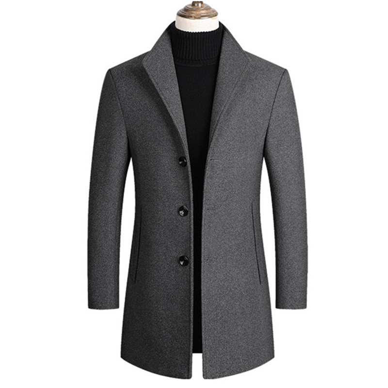 Men Wool Blends Coats Trench Pea Coat 2020 Spring Winter New Solid Color High Quality Men's Wool Jacket Luxurious Brand Clothing