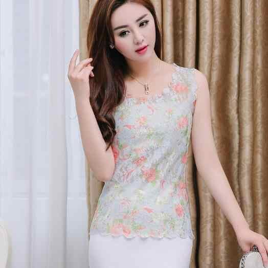 Blusa Formal de mujer 2019 elegante Sexy sin mangas señoras de gasa de encaje blusa Tops Vintage Floral estampado bordado camisas M712