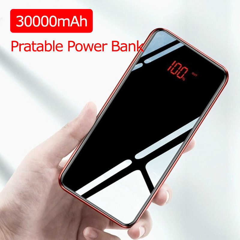 30000 MAh Power Bank External Battery Poverbank Usb Portable Powerbank Mobile Phone Charger untuk Xiaomi Iphone Huawei