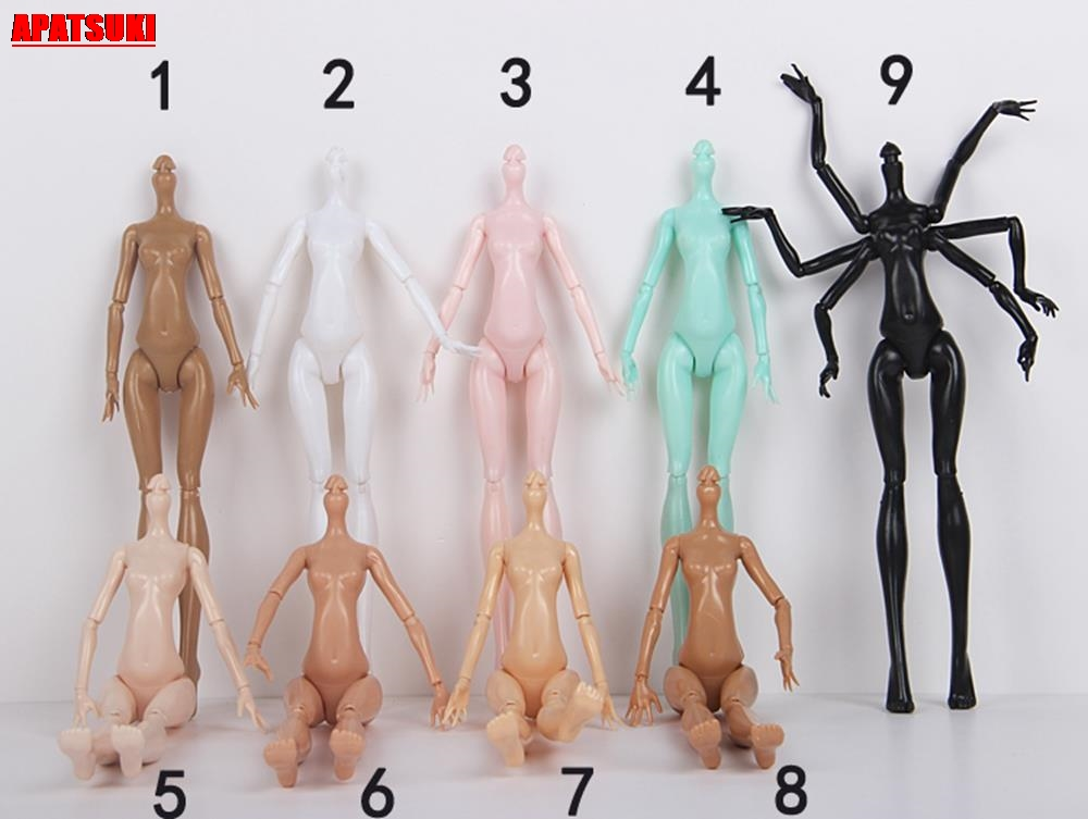 DIY 9 Colors Imitation Demon Monster Dolls Naked Body Without Head For Monster High Dolls Fairytales 11 Joints Doll Bodies Toys