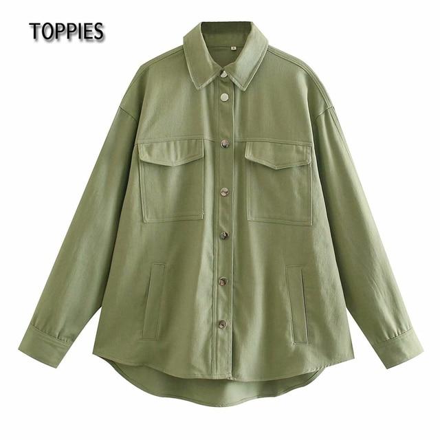 Toppies Green Cotton Shirt Jacket Button Down Loose Coat Women Long Sleeve Pockets Jacket Streetwear 1