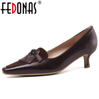FEDONAS Euro Style New Concise Retro Women Sheepskin Kid Suede Shoes Fringe Butterfly Knot Thin Heel Shallow Slip-On Shoes Woman