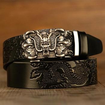 Men Belt Genuine Leather New High Quality Cowhide Handmade Men Waistbands Chinese Dragon Pressed Straps Male Designer Belts 1