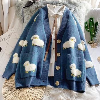 Autumn Winter Knitted Female Cardigan Loose Streetwear Knit Sweater Coat Cute Cartoon Print V Neck knitted cardigan Women Jacket