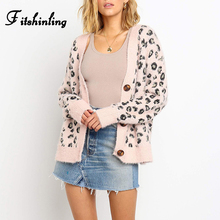 Fitshinling Hairy Leopard Cardigans Womens Clothing Buttons Up V Neck Sweaters Boho Fuzzy Soft Winter Cardigan Outerwear Female