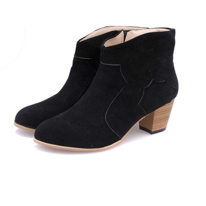 themost style contracted Tide Girl Boots Woman British Style Rivet Boots Martin Boots Autumn Winter 2019 New High heeled Shoes in Ankle Boots from Shoes