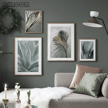 Golden Palm Plant Canvas Painting Agave Leaves Poster Nordic Wall Art Print Scandinavian Decoration Picture Artwork Home Decor tropical plant nordic poster home decoration scandinavian green leaves decorative picture modern wall art canvas painting