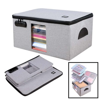 Files Bag Briefcase Document Certificates Organizer Multilayer Large Capacity Travel Document Storage Bag Box Home Office Use