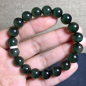 Настоящий 10 мм натуральный зеленый рутилированный кварц браслет для женщин и мужчин сильный кошачий глаз круглые бусины ювелирные изделия ...