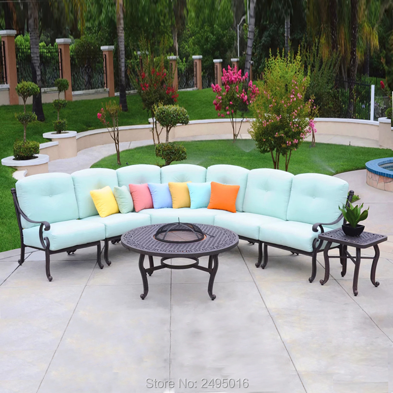 7 person patio converstaion sofa set solid cast aluminum outdoor furniture half moon sectional all weather sectional set